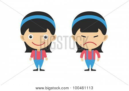 Vector cartoon girls sisters emotions. Kid girls isolated. Small kids. Kids background. Children vector people. Vector kids, teens, smile face, kids people silhouette. Kids pose