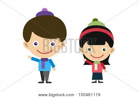 Vector cute cartoon boy and girl family. Kids isolated. Small kids, schildren clothes. Kids posing. Kids background. Children vector people. Vector kids, teens, smile face, sister and brother kids