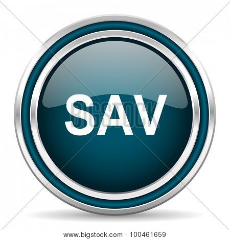 sav blue glossy web icon with double chrome border on white background with shadow