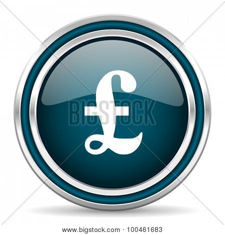 pound blue glossy web icon with double chrome border on white background with shadow