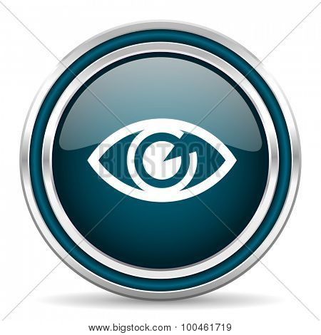 eye blue glossy web icon with double chrome border on white background with shadow