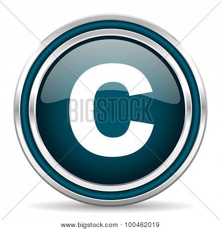 copyright blue glossy web icon with double chrome border on white background with shadow