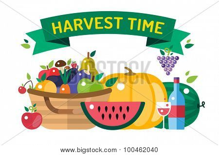 Harvest time vector illustration. Harvest fruits and vegetables. Harvest basket and harvest isolated objects. Harvesting. Harvest background vector. Harvest  autumn season. Harvest objects isolated