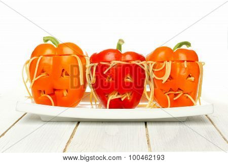 Halloween monster head stuffed peppers