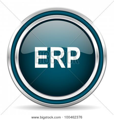 erp blue glossy web icon with double chrome border on white background with shadow
