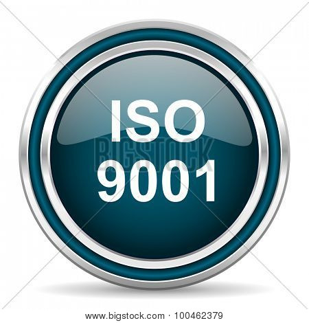 iso 9001 blue glossy web icon with double chrome border on white background with shadow