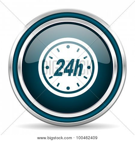 24h blue glossy web icon with double chrome border on white background with shadow