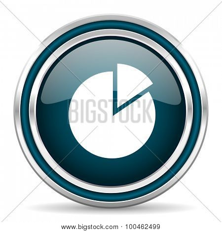 chart blue glossy web icon with double chrome border on white background with shadow