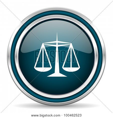 justice blue glossy web icon with double chrome border on white background with shadow
