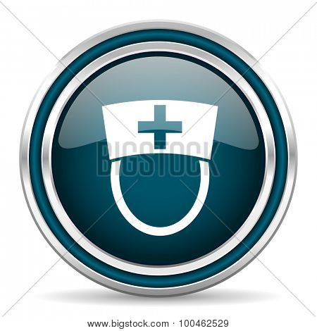 nurse blue glossy web icon with double chrome border on white background with shadow