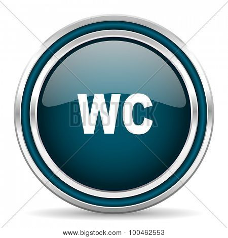toilet blue glossy web icon with double chrome border on white background with shadow