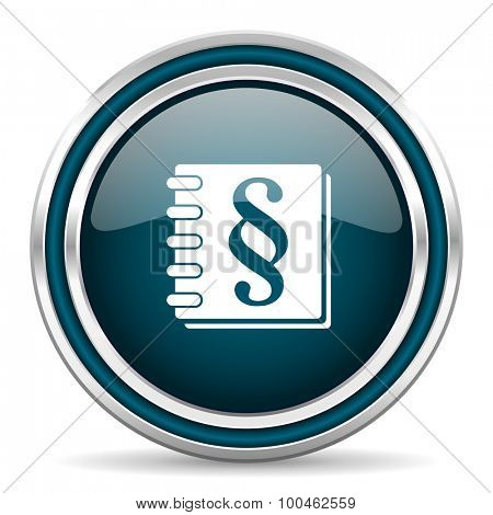 law blue glossy web icon with double chrome border on white background with shadow