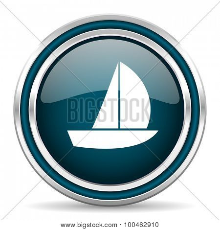 yacht blue glossy web icon with double chrome border on white background with shadow