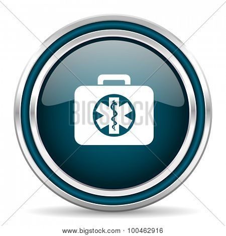 rescue kit blue glossy web icon with double chrome border on white background with shadow