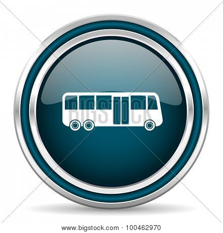bus blue glossy web icon with double chrome border on white background with shadow