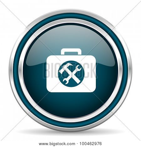 toolkit blue glossy web icon with double chrome border on white background with shadow