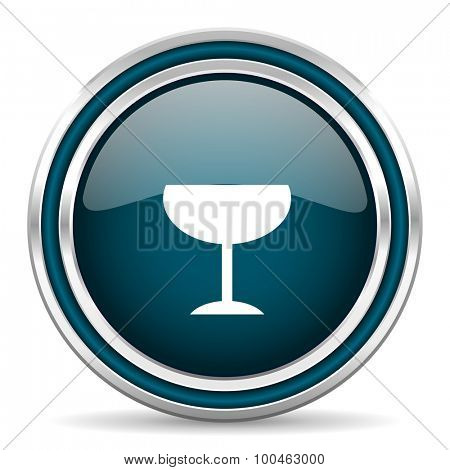 alcohol  blue glossy web icon with double chrome border on white background with shadow