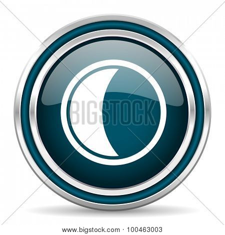 moon blue glossy web icon with double chrome border on white background with shadow