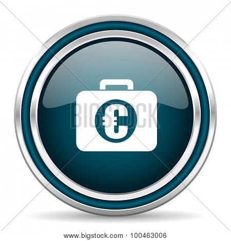 financial blue glossy web icon with double chrome border on white background with shadow