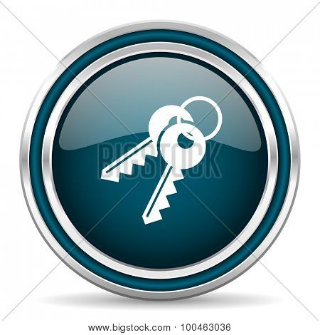keys blue glossy web icon with double chrome border on white background with shadow