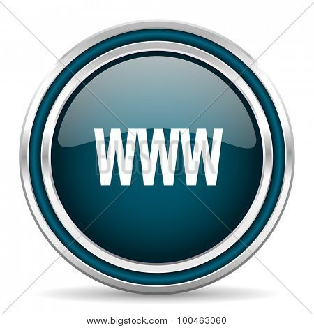 www blue glossy web icon with double chrome border on white background with shadow