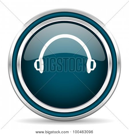 headphones blue glossy web icon with double chrome border on white background with shadow
