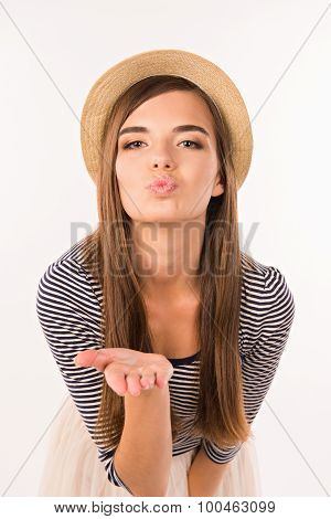 Beautiful Girl Sending An Air Kiss