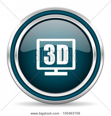 3d display blue glossy web icon with double chrome border on white background with shadow