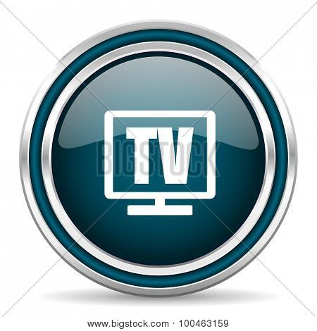 tv blue glossy web icon with double chrome border on white background with shadow