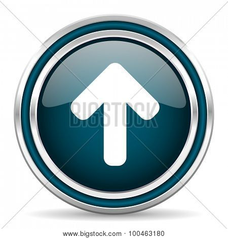 up arrow blue glossy web icon with double chrome border on white background with shadow