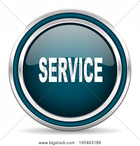 service blue glossy web icon with double chrome border on white background with shadow