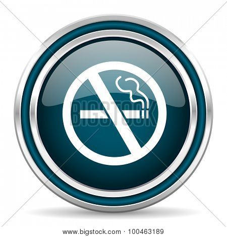no smoking blue glossy web icon with double chrome border on white background with shadow