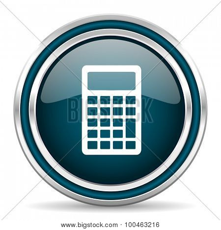 calculator blue glossy web icon with double chrome border on white background with shadow