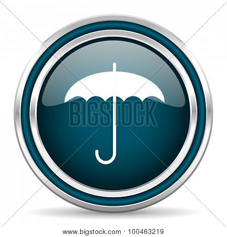 umbrella blue glossy web icon with double chrome border on white background with shadow