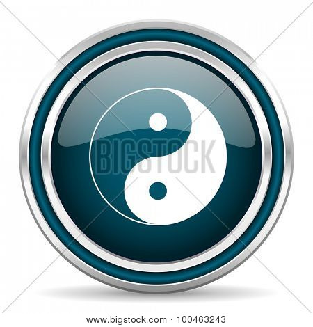 ying yang blue glossy web icon with double chrome border on white background with shadow