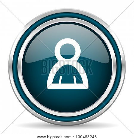 person blue glossy web icon with double chrome border on white background with shadow