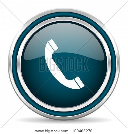 phone blue glossy web icon with double chrome border on white background with shadow