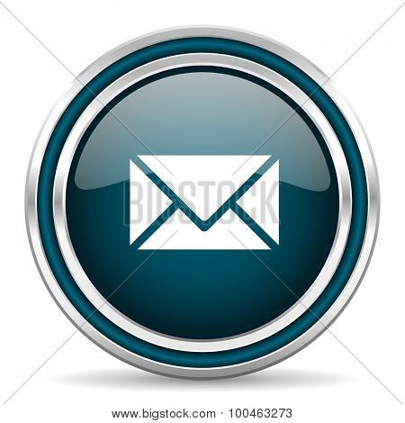 email blue glossy web icon with double chrome border on white background with shadow
