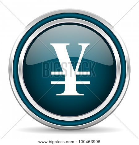 yen blue glossy web icon with double chrome border on white background with shadow