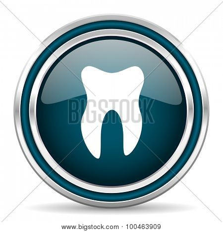 tooth blue glossy web icon with double chrome border on white background with shadow