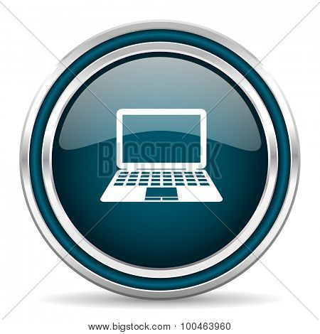 computer blue glossy web icon with double chrome border on white background with shadow