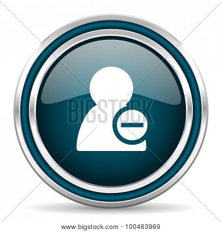 remove contact blue glossy web icon with double chrome border on white background with shadow