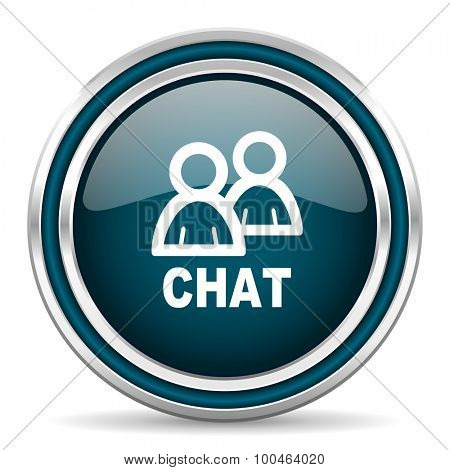chat blue glossy web icon with double chrome border on white background with shadow