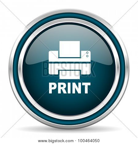 printer blue glossy web icon with double chrome border on white background with shadow
