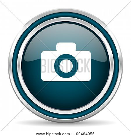 camera blue glossy web icon with double chrome border on white background with shadow