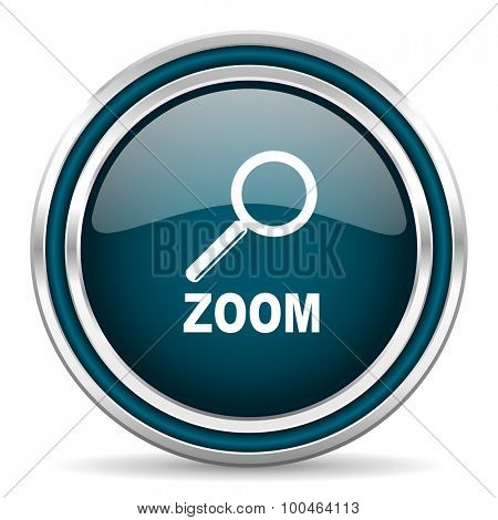 zoom blue glossy web icon with double chrome border on white background with shadow