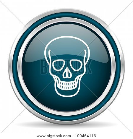 skull blue glossy web icon with double chrome border on white background with shadow
