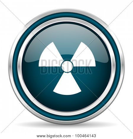 radiation blue glossy web icon with double chrome border on white background with shadow