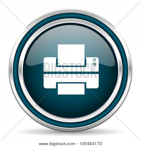 printer blue glossy web icon , round, circle, steel, silver, white, background,modern, shiny, glossy,
