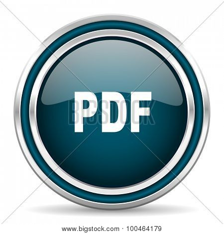 pdf blue glossy web icon , round, circle, steel, silver, white, background,modern, shiny, glossy,
